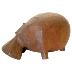 Whimsical Hand Carved Wooden Hippo Figure by Rod Mack Dated 1958