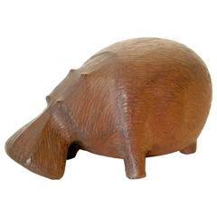 Carved Wooden Hippo