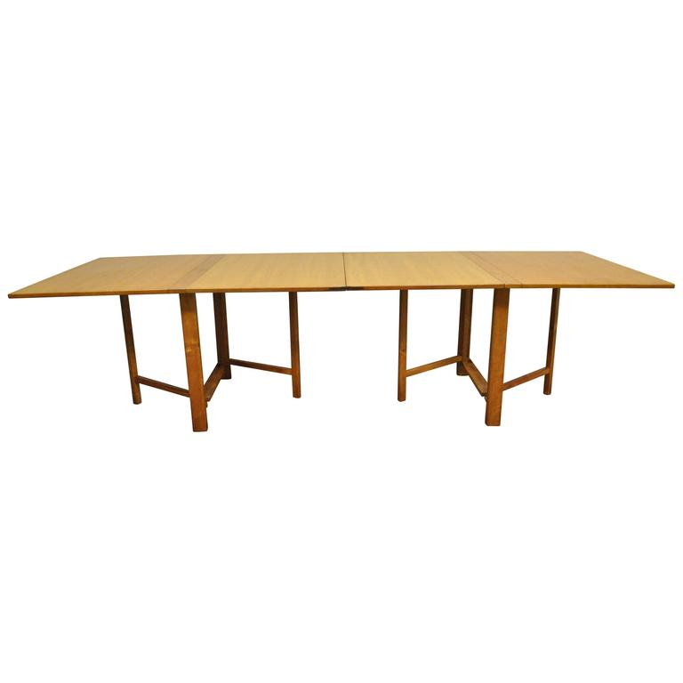 Bruno Mathsson Gate Leg Maria Expandable Gateleg Teak and Birchwood Dining Table