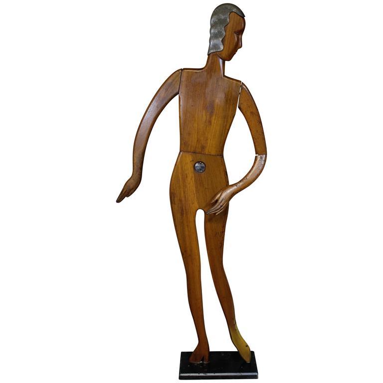 Art Deco Wood Store Display Mannequin