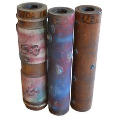 Wallpaper Printing Rollers as Industrial Artifacts/Vases, Set of Three