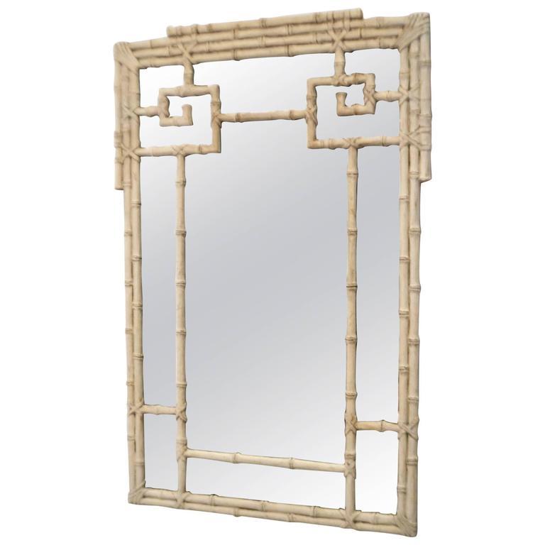 Italian Hollywood Regency Carved Wood Faux Bamboo Wall Mirror