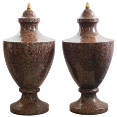 Pair of 19th Century Neoclassical Granite Urns