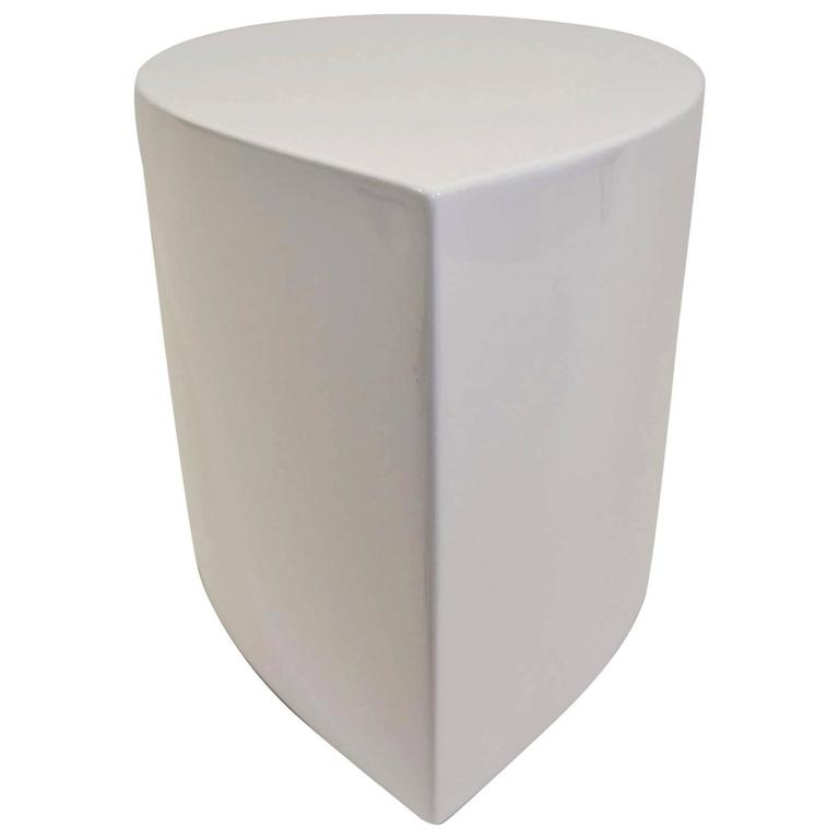 White Lacquer Teardrop Side Table, Karl Springer Style