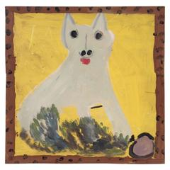 Outsider Art Jimmy Lee Sudduth Dog Oil Painting