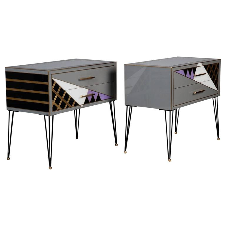 Pair of Italian Two-Drawer Cabinets with Murano Glass and Brass Inlays