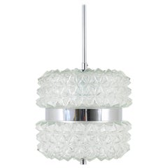 Beautiful Chrome and Faceted Glass Pendant Light from the 1960s