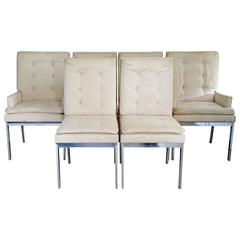 Set of Six Milo Baughman for DIA Chrome Dining Chairs