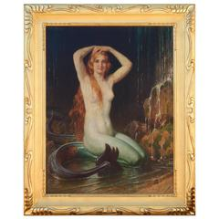 "Angelo Von Courten Mermaid Painting - Oil on Canvas Titled ""Sirene"""