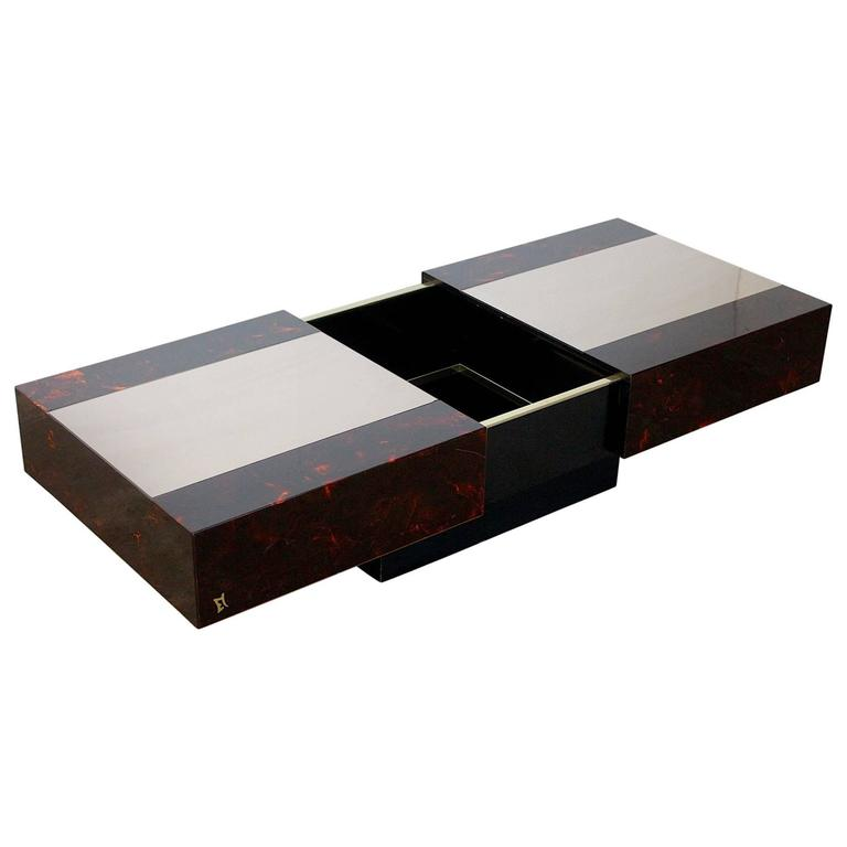 Eric Maville Sliding Coffee Table with Liquor Storage