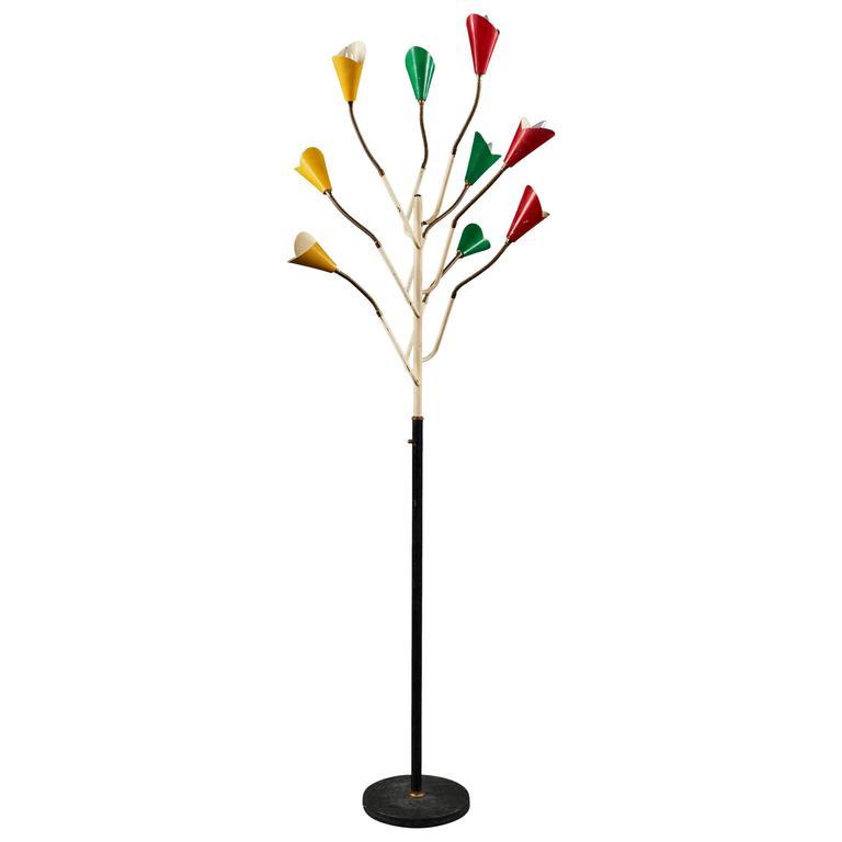 Spectacular Multi-Colored Stilnovo Floor Lamp of Rare Form