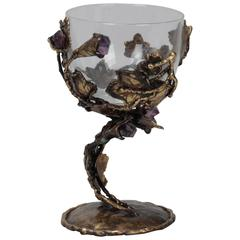 Mid-Century Goblet with Handcrafted Metal and Amethyst Base