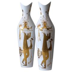 Pair of Bjorn Wiinblad Quatre Couleurs Vases