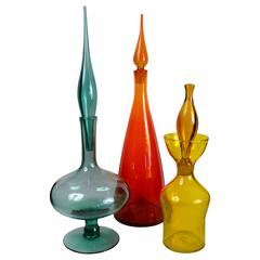 Collection of Blenko Decanters