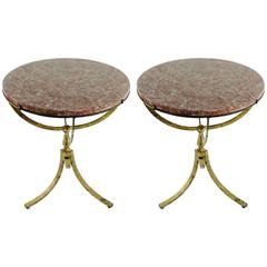 Beautiful Pair of Gilded Wrought Iron Gueridons, Marble Tops, 1950s-1960s