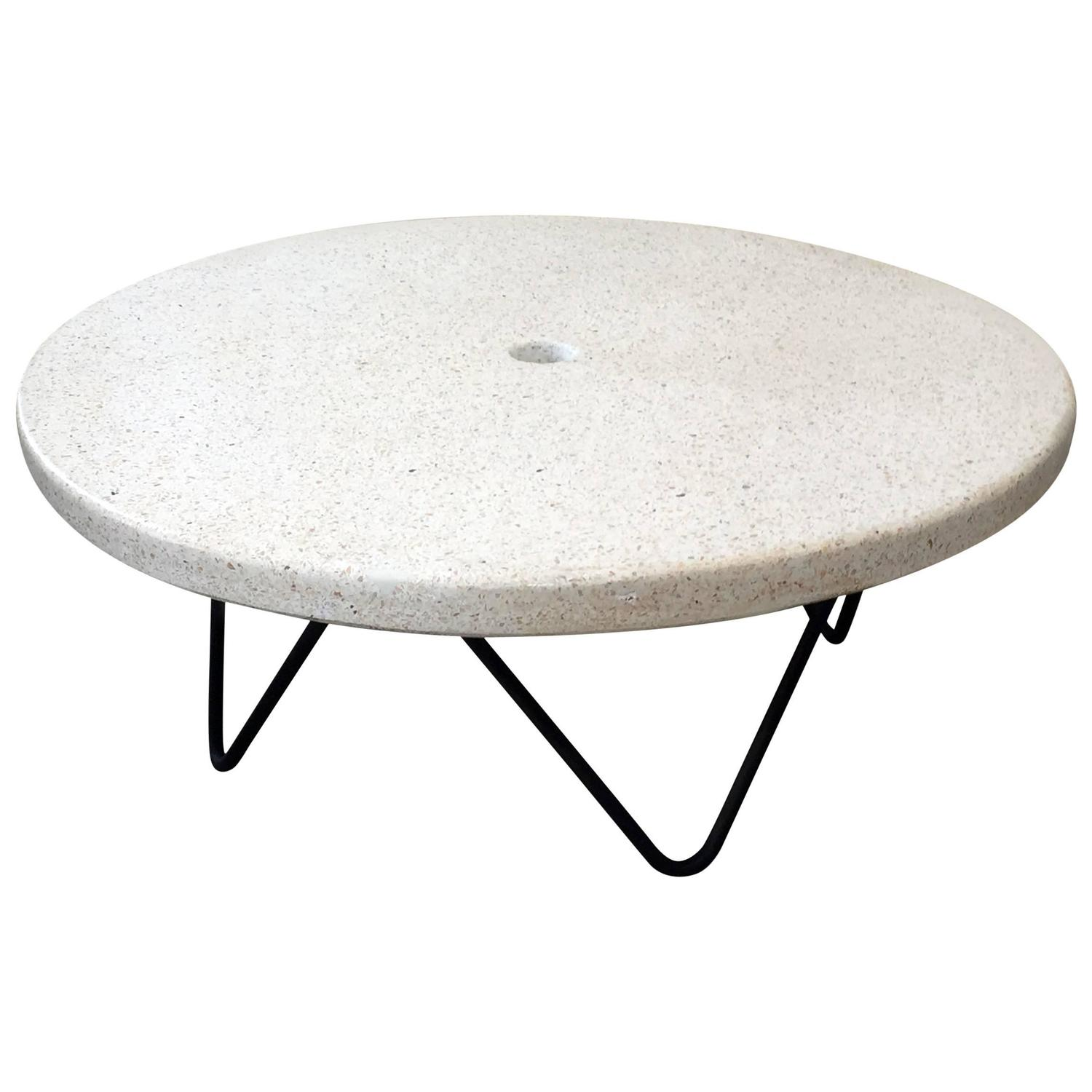 mid century terrazzo coffee indoor outdoor table for sale at 1stdibs