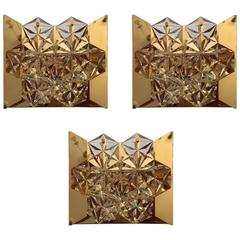Set of Three Gold Kinkeldey Austrian Crystal, 1960s Wall Lights