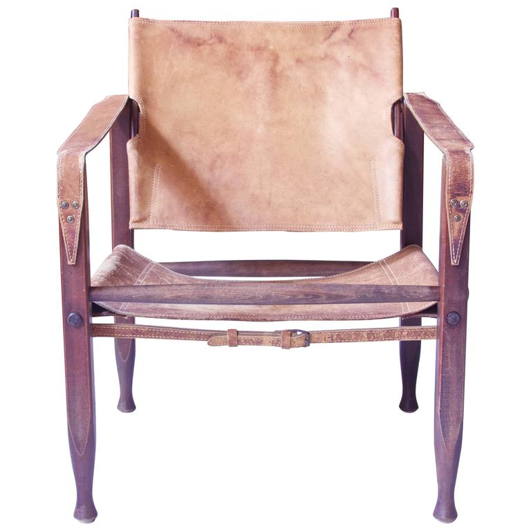 Vintage Kaare Klint Leather and Stained Beechwood Safari Chair, 1940s 1