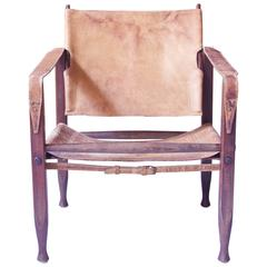 Vintage Kaare Klint Leather and Stained Beechwood Safari Chair, 1940s