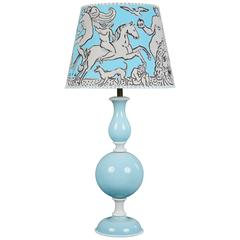 Pale Blue and White Murano Glass Table Lamp, Style of Venini