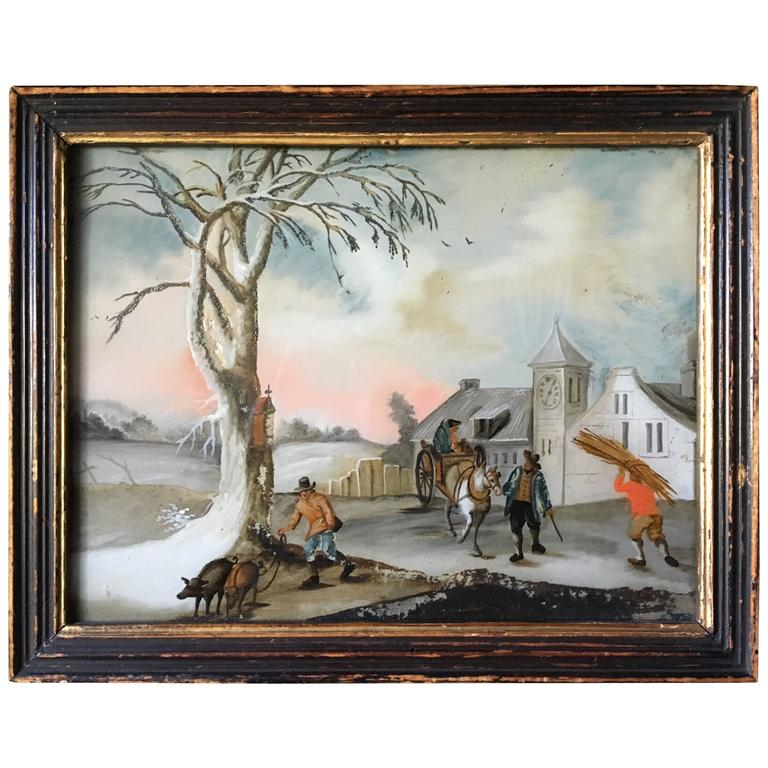 Small Églomisé Genre Painting, Early 19th Century For Sale