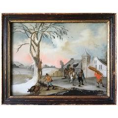 Small Églomisé Genre Painting, Early 19th Century