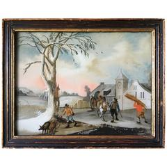 Small Églomisé Genre Painting, Early 19th Century