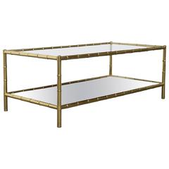 Impressive Two-Tiered Faux Bamboo Coffee Table Jacques Adnet Maison Baques style