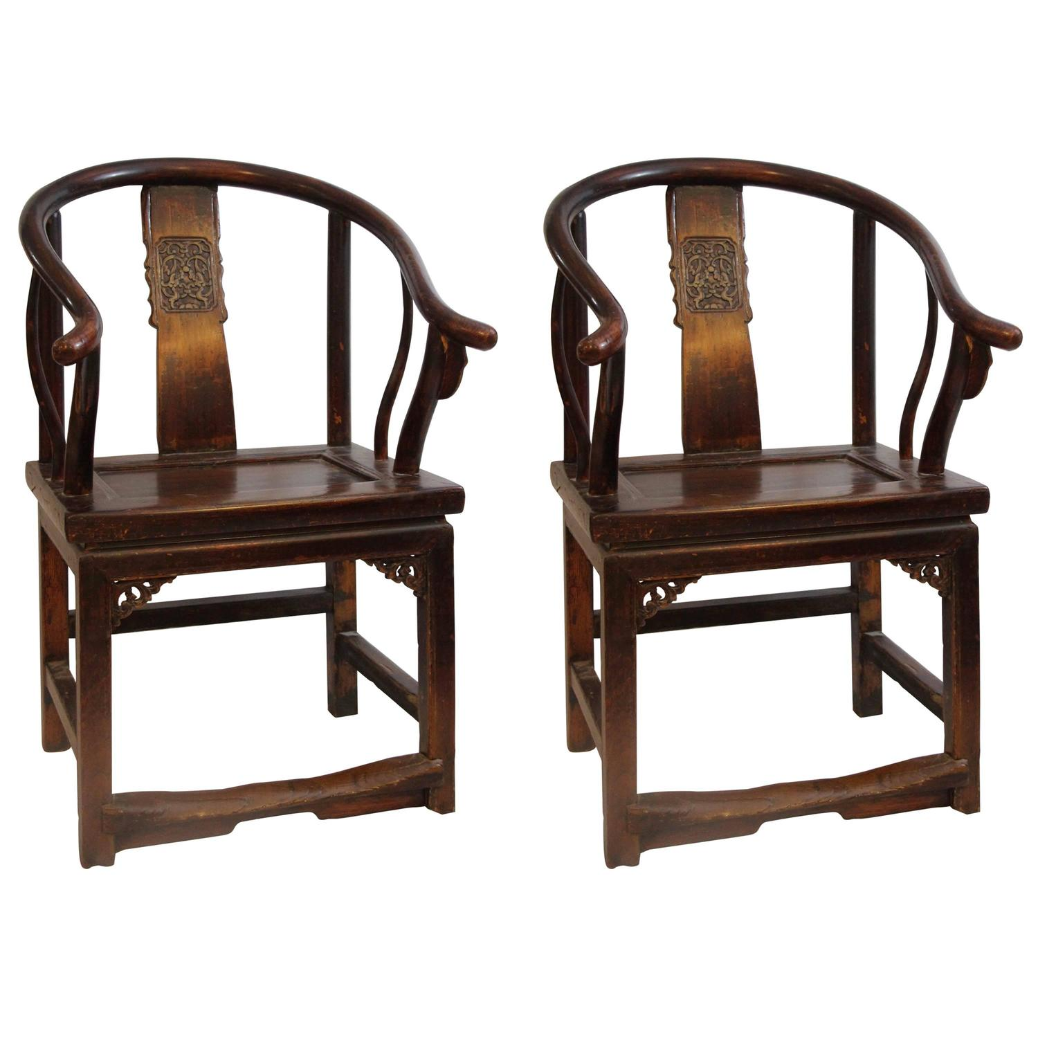 pair of horse shoe back armchairs china circa 1900 for
