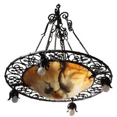 Wrought Iron and Alabaster Art Deco Chandelier