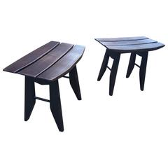 Guillerme & Chambron, Pair of Blacken Oak Stools, Edition Votre Maison, 1960