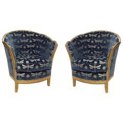 Pair of French Art Deco Giltwood Bergeres by Maurice Dufrene