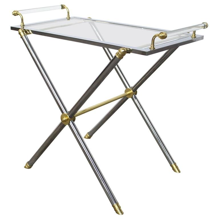 Serving Tray Table Brass and Glass by Charles Hollis Jones For Sale