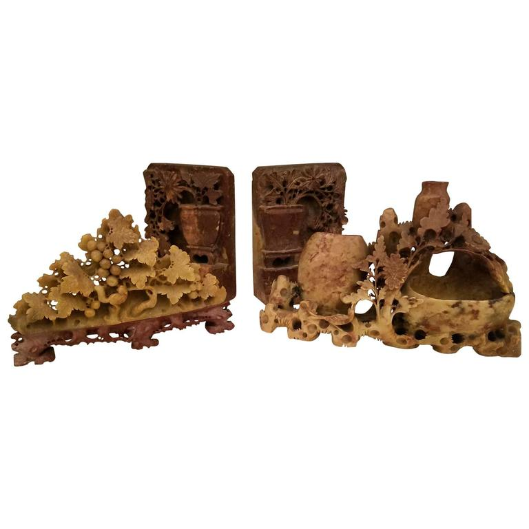 Collection Of Chinese Carved Soapstone Pieces At 1stdibs