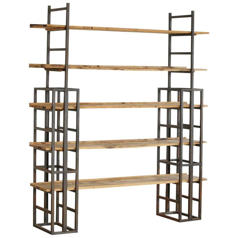 Custom-Made Adjustable Industrial Style Steel and Wood Plank Etagere For Sale