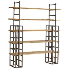Custom-Made Adjustable Industrial Style Steel and Wood Plank Etagere