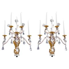 Pair of Early 19th Century Italian Giltwood and Rock Crystal Wall Sconces