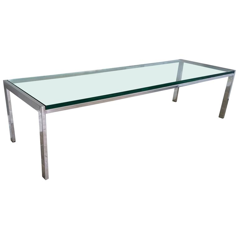 Milo Baughman Chrome Coffee Table: 1970s Chrome And Glass Coffee Table Attributed To Milo