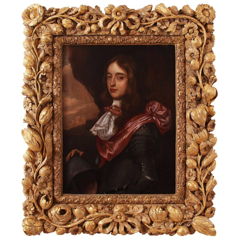 17th Century Oil Painting, Royal Interest Carved Giltwood Frame