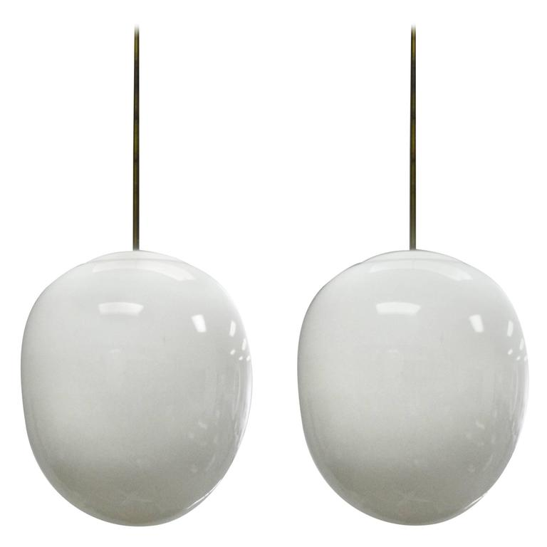 Mid-Century Modern Milk Glass Pendants