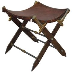 Continental Steel, Brass, and Leather Decorative Bench, Early 20th Century