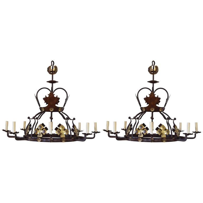 Pair of Italian Wrought Iron and Painted Metal Eight-Light Chandeliers, UL Wired