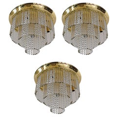 Set of Three Pieces of a Huge Kalmar Three-Tier Glass Flush Mount with Crystals