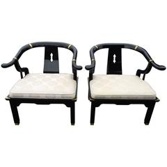 Pair of Century Asian Lacquered and Brass Chairs, the style of James Mont