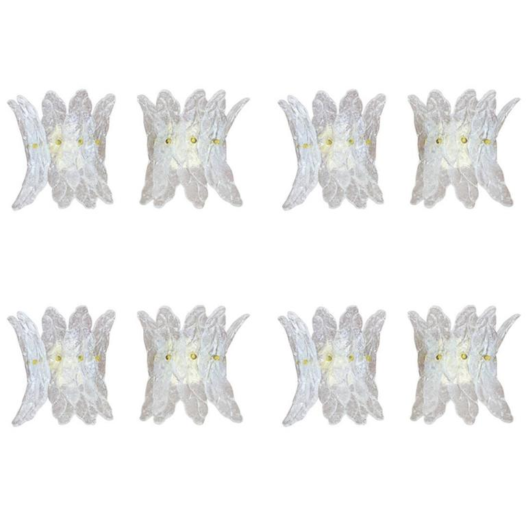 Set of Eight Murano Glass Wall Sconces, Italy, 1960s