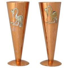 Charming & Exotic Vicky Peru Applied Silver & Copper, Pair of Vases 1975