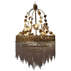 Italian Glass and Brass Chandelier