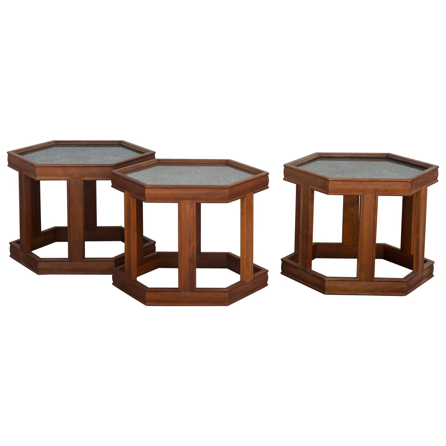 Mid Century Coffee Table John Keal For Brown Saltman At: Group Of Three Side Tables Or Coffee Table By John Keal