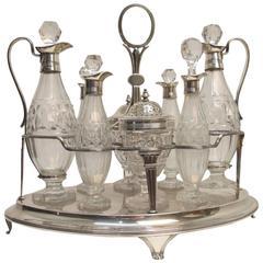 English Georgian Sterling and Glass Cruet Set