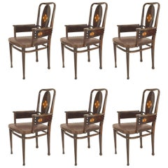 Set of Six Austrian Secessionist Mahogany Armchairs by Marcel Kammerer